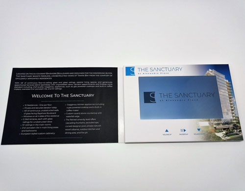 hardcover video brochure in softcover