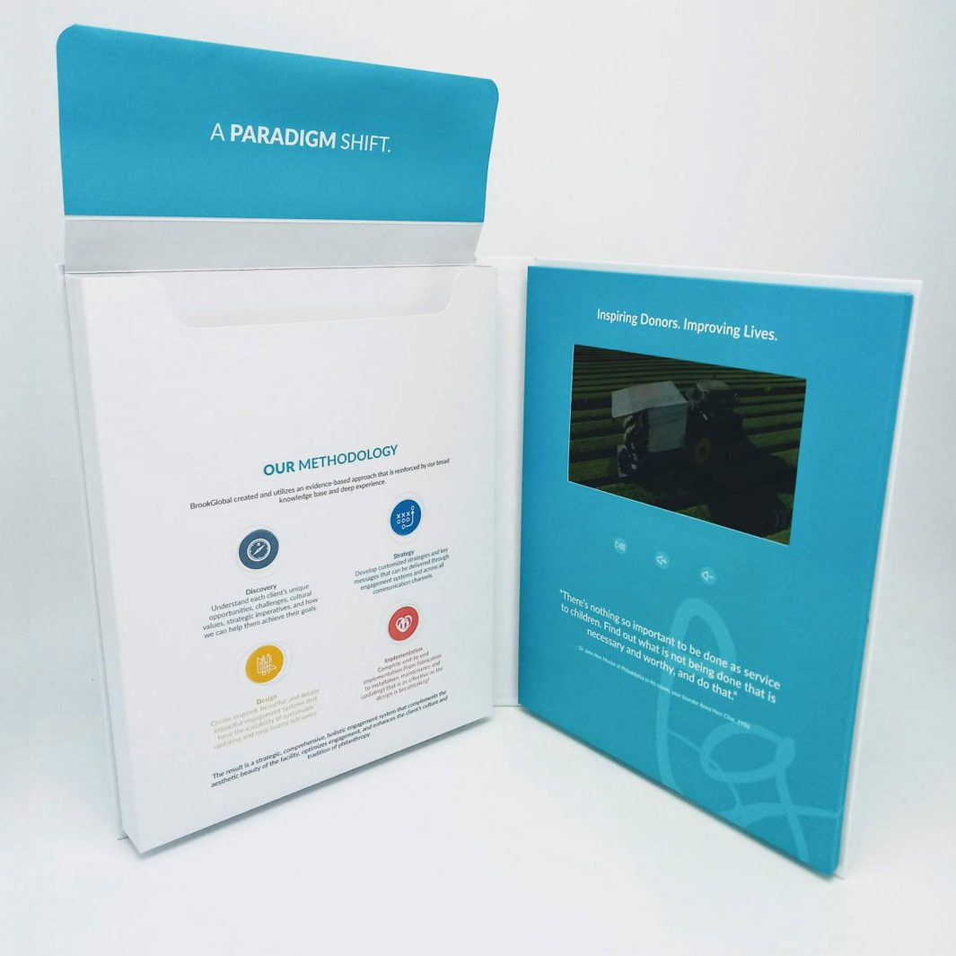 video brochure doc-box with flap on document box open