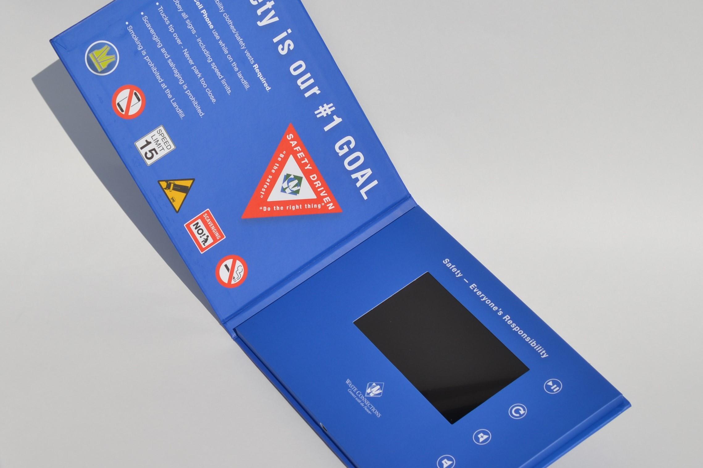 5-inch hardcover video brochure screen view