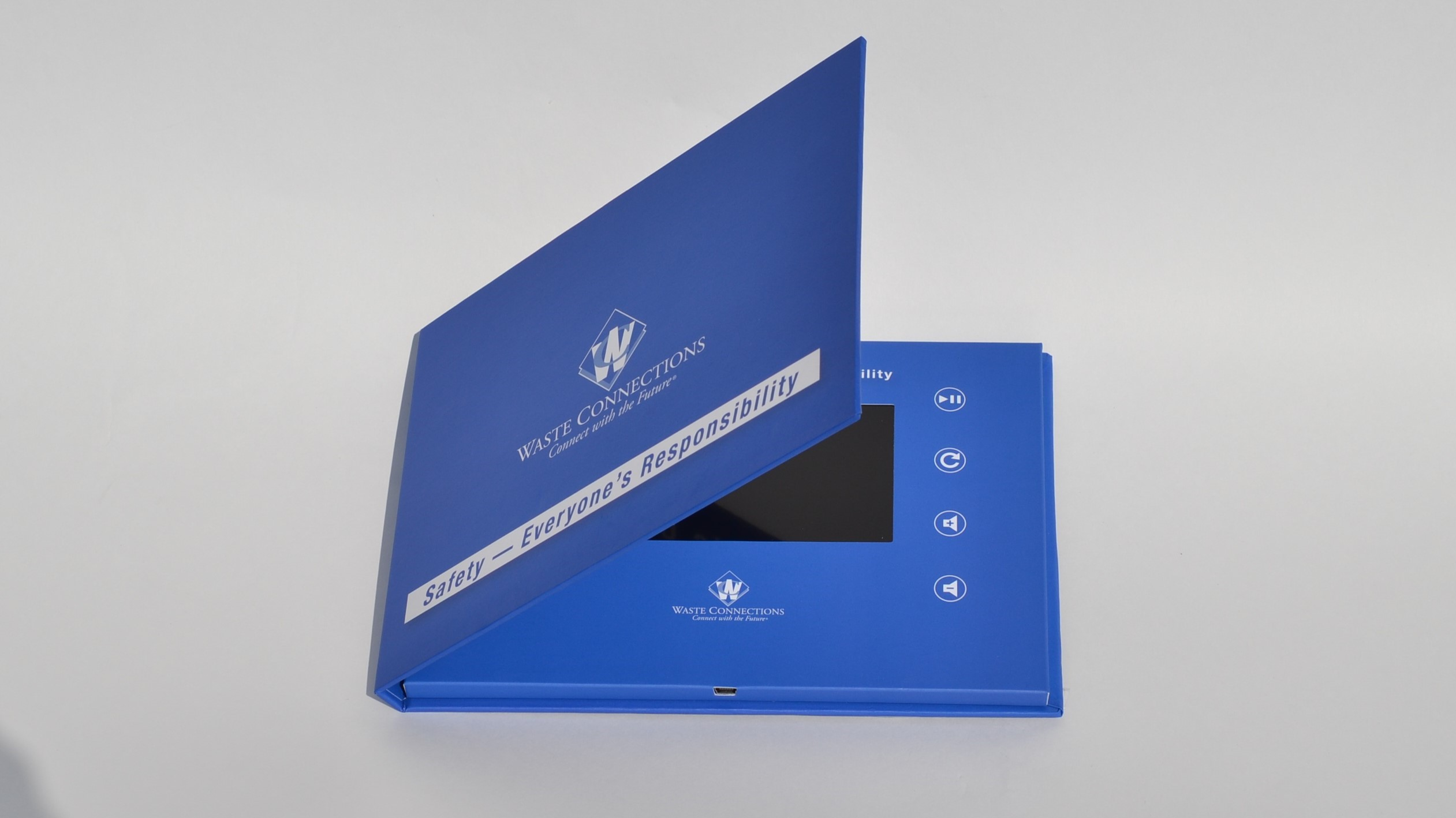 5-inch hardcover video brochure opening view