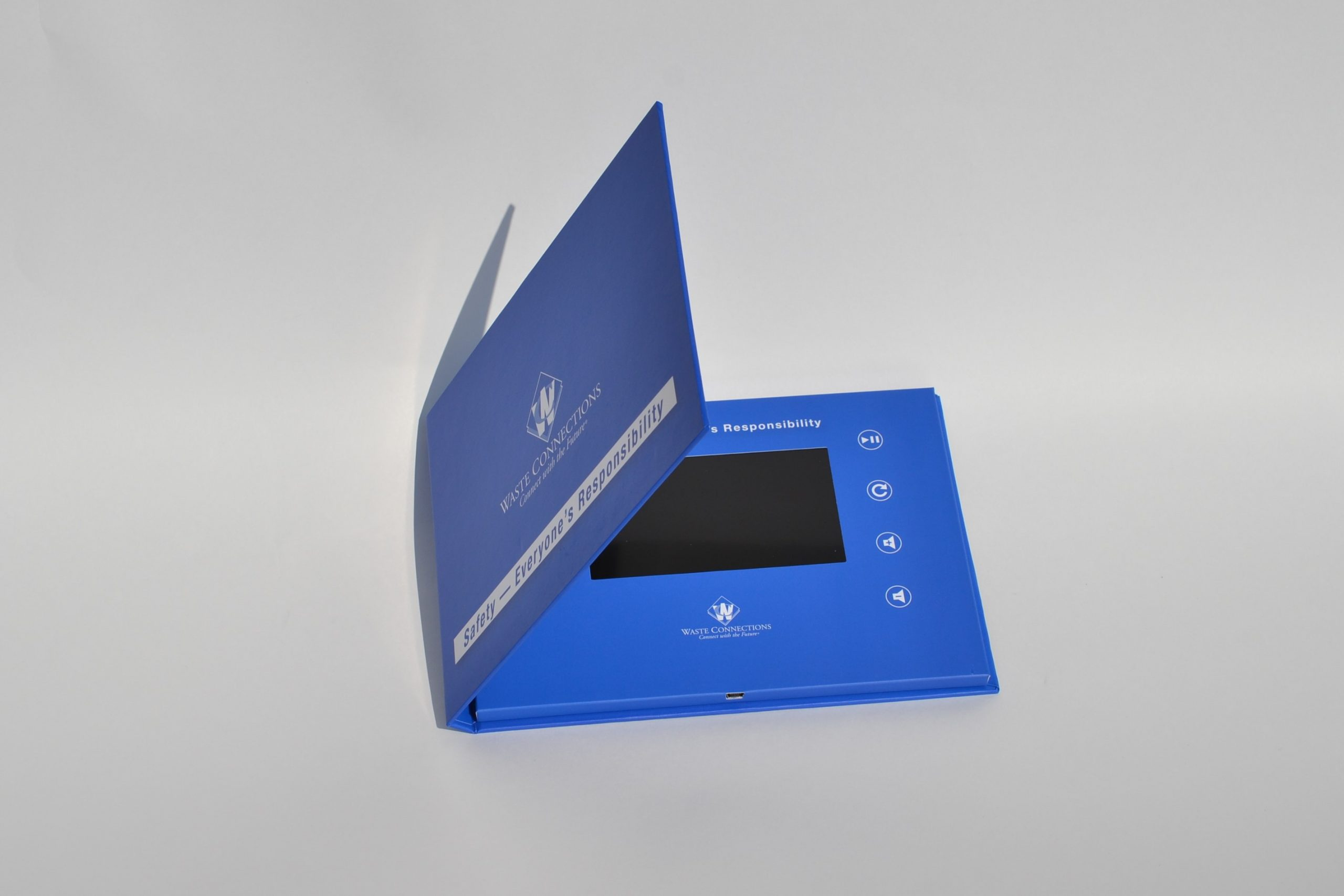 5-inch video brochure hardcover open view
