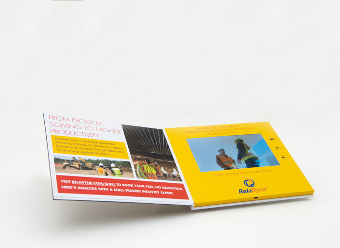 7-inch video screen in hardcover A5 video brochure