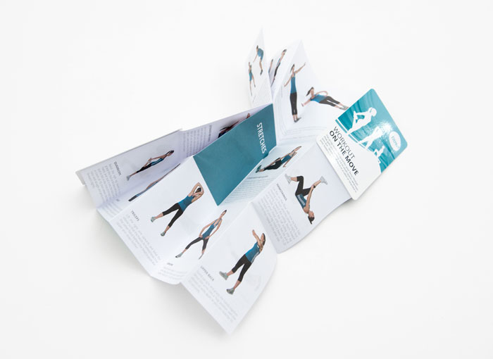 z-folded leaflet with text page laid flat