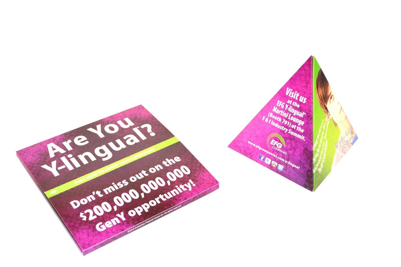 pop-up pyramid mailer