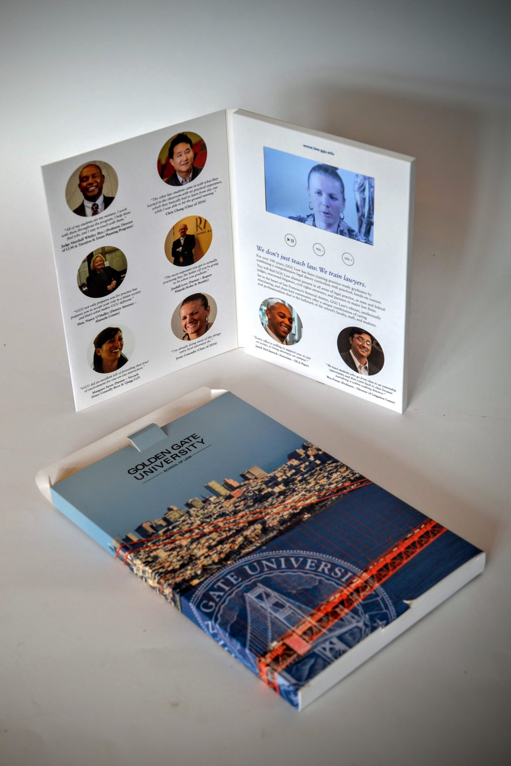 portrait video brochure and printed mailing carton