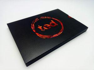 10-inch hardcover video brochure's slip case featuring spot UV varnish