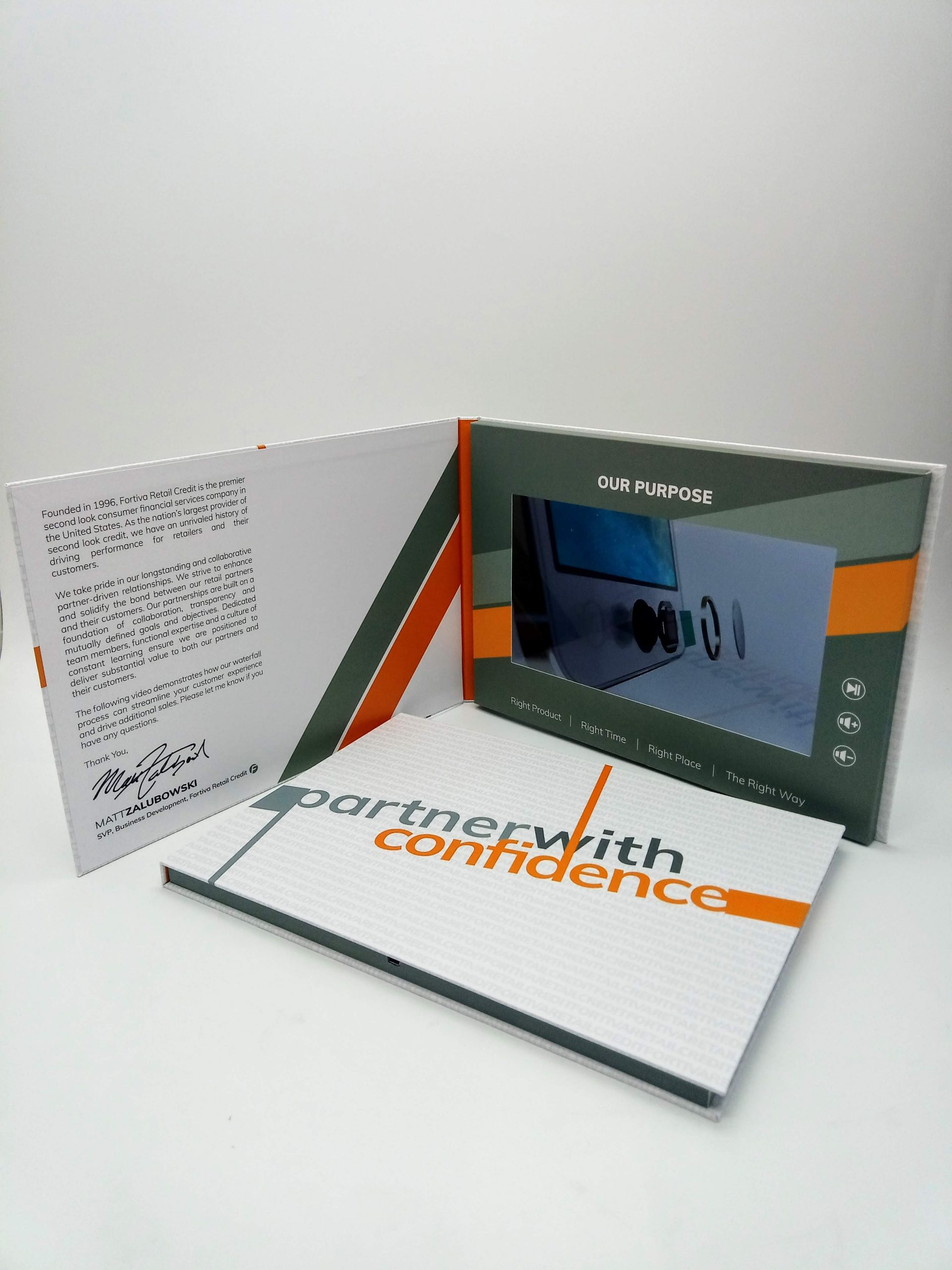 10-inch hardcover video brochure open and closed